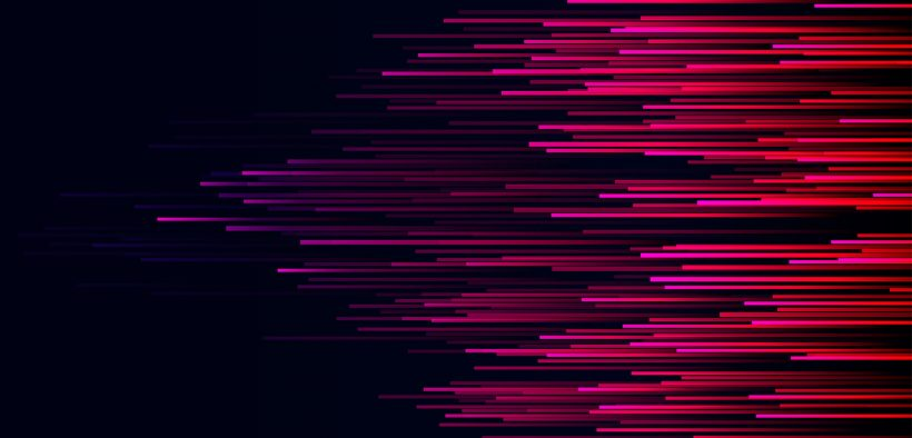 Image of lines moving left to right in red and purple against a black background for Agile Policy on Complex Terrains Nudge or Nuzzle blog post