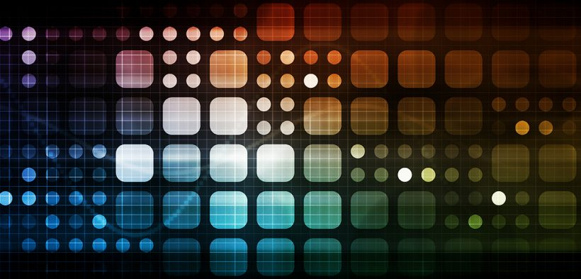 Colored, tiled squares with rounded corners over a black background.