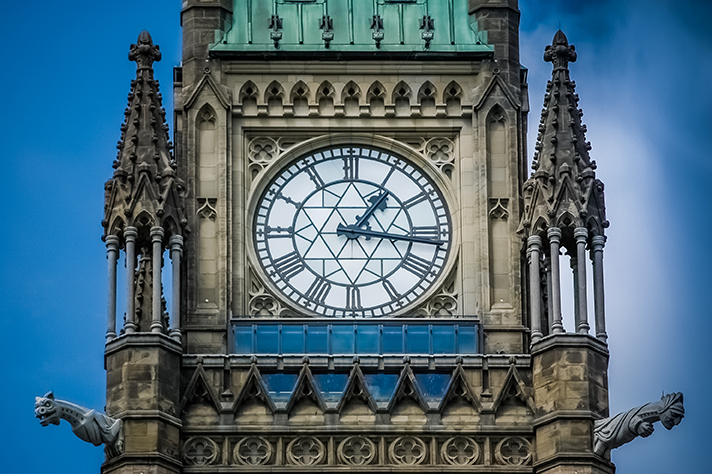 Image of the Parliament of Canada's clocktower for Canada 2030 Scan of Emerging Issues Governance blog post