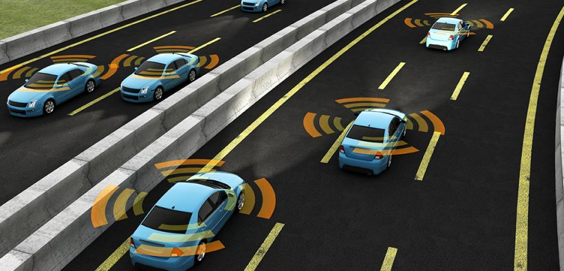 Image of cars driving with signals emiting from them demonstrarting that they are autonomous for What If Self-Driving Vehicles Were the New Mass Transit Solution for Cities blog post