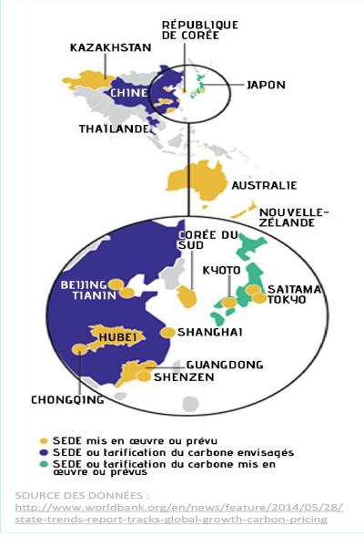 Points chauds qui décrit les systèmes d'échange des droits d'émission (SEDE) en Asie