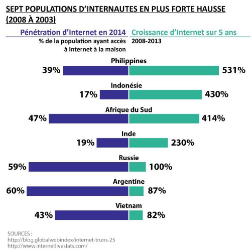 Sept populations d'internautes en plus forte hausse (2008 à 2003)