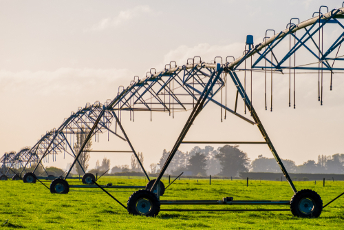 Image of modern irrigation machine in a field