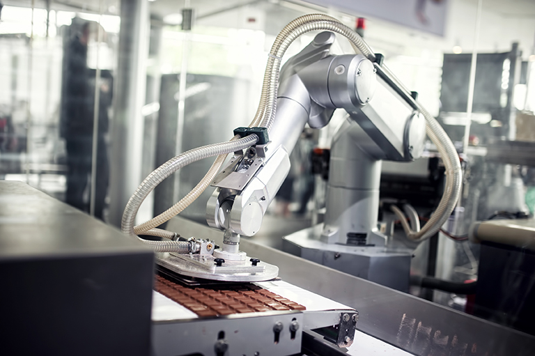 Image of automated factory producing chocolate