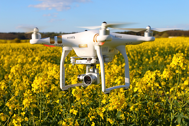 Image of agricultural drone in a field