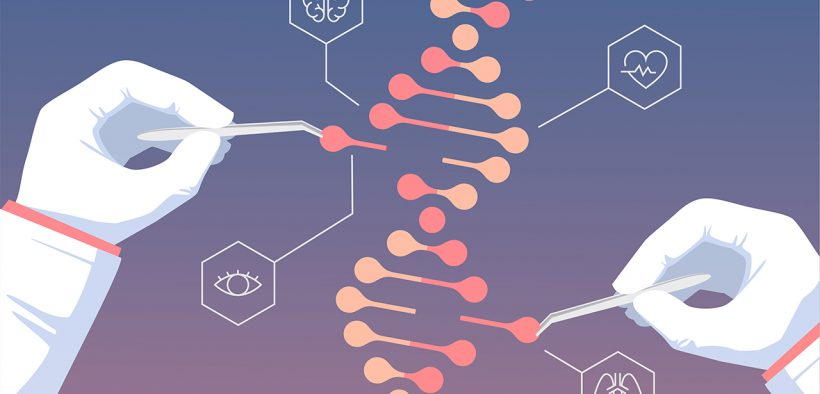 Illustration of two gloved hands using tweezers to alter a strand of DNA