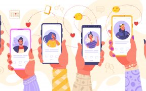 Multiple illustrated hands holding up smartphones with dating apps open on the screens
